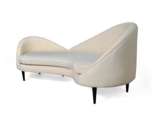 Heart Upholstered Curved Back Sofa with Wooden Legs Side View