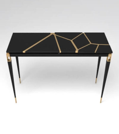 Ida Wood and Stainless Black Console Table
