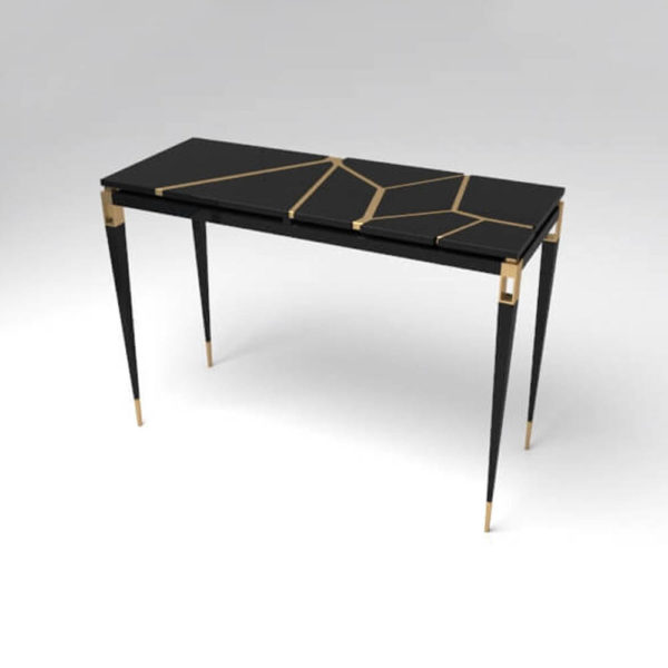 Ida Wood and Stainless Black Console Table Beside View