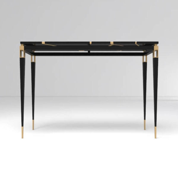 Ida Wood and Stainless Black Console Table Front