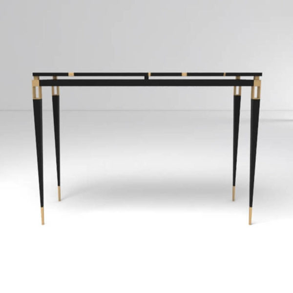 Ida Wood and Stainless Black Console Table Front View