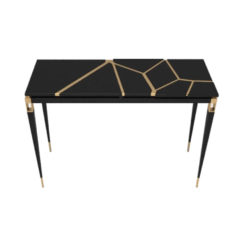 Ida Wood and Stainless Black Console Table G