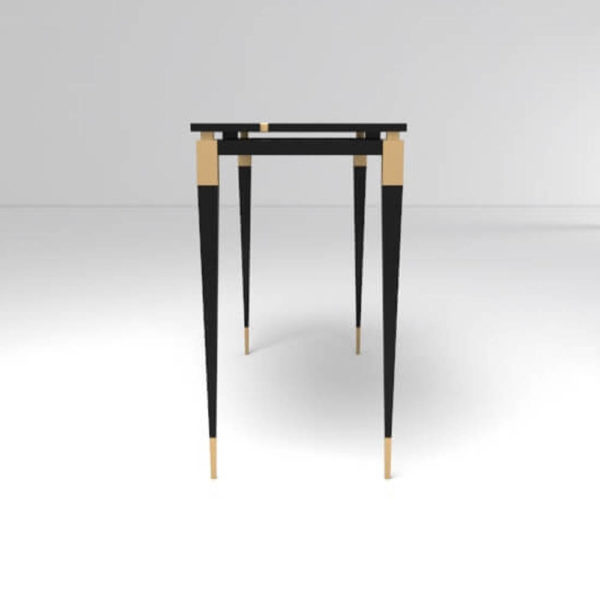 Ida Wood and Stainless Black Console Table Side