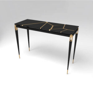 Ida Wood and Stainless Black Console Table View