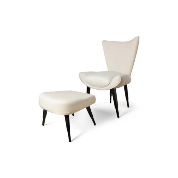 Keda Upholstered Accent Chair and Footstool with Black Lacquer Legs Beside View