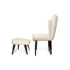 Keda Upholstered Accent Chair and Footstool with Black Lacquer Legs 5