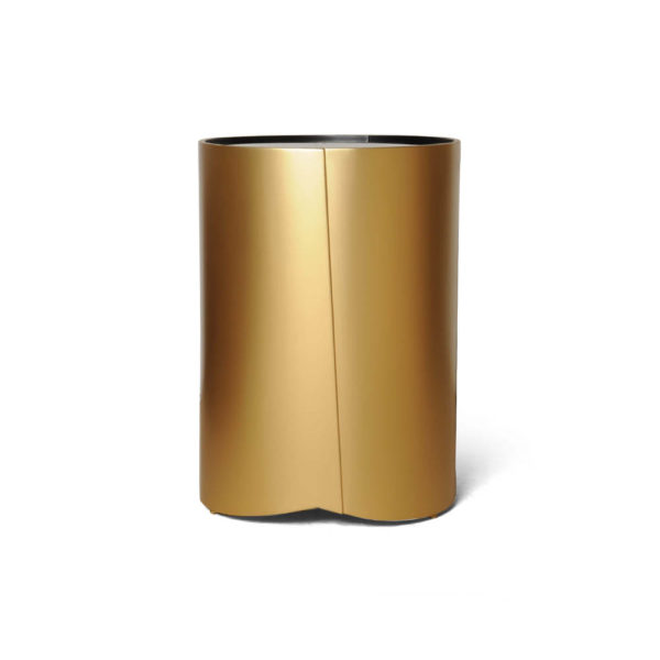 Kitel Gold Glass Top Round Side Table Cylinder