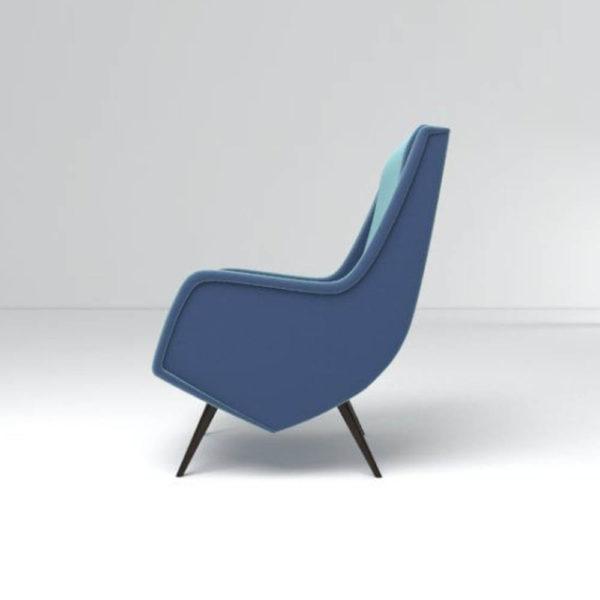 Kogan Upholstered High Backed Armchair Left Side View