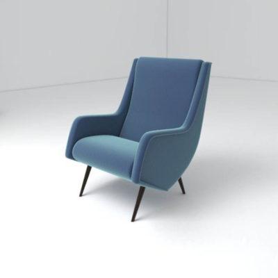 Kogan Upholstered High Backed Armchair Left View