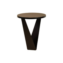 Luca Dark Brown Round V Shaped Side Table Front
