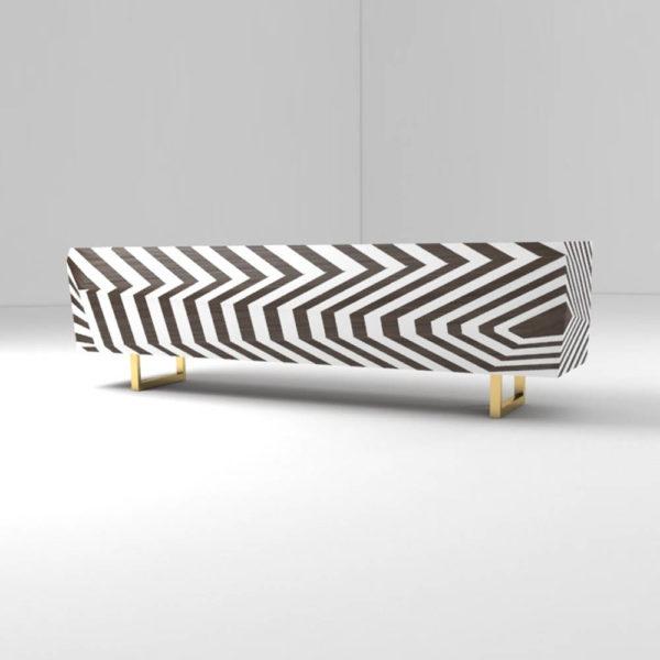 Mira Side Cabinet Stripes Beside View