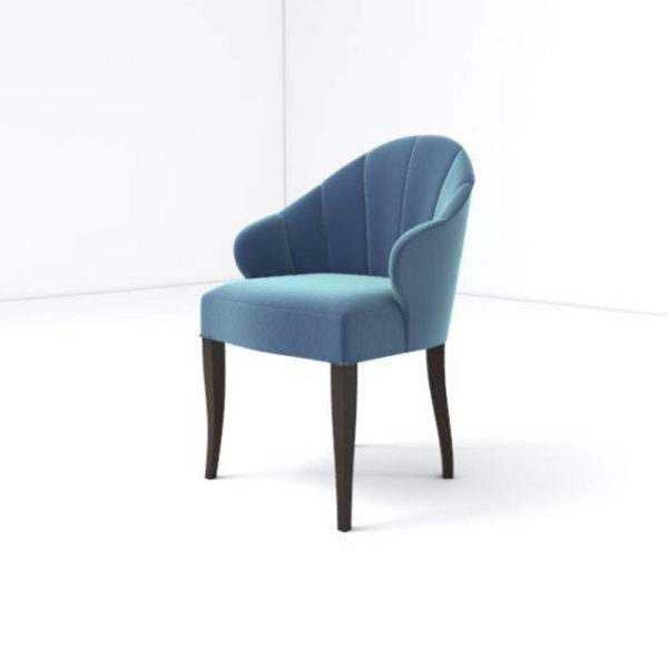 Olga Upholstered Stripped Curved Armchair Beside View