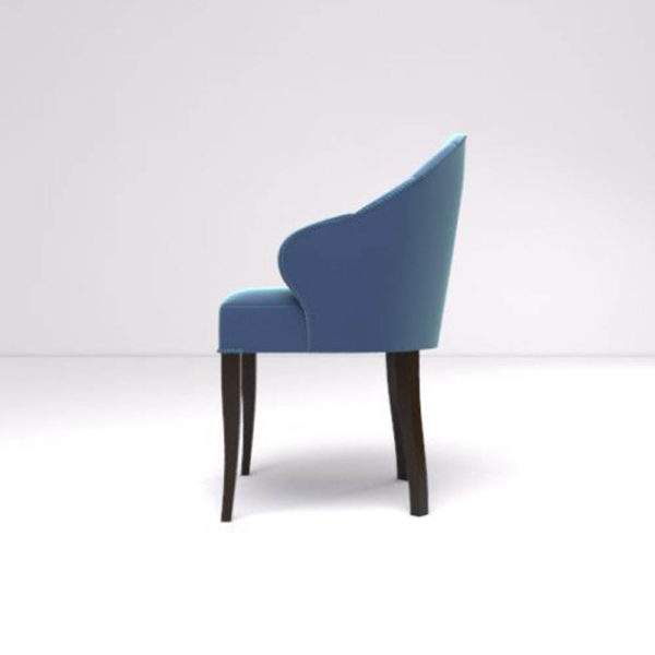Olga Upholstered Stripped Curved Armchair Left