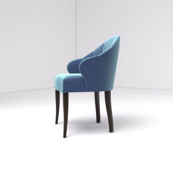 Olga Upholstered Stripped Curved Armchair Left Side View