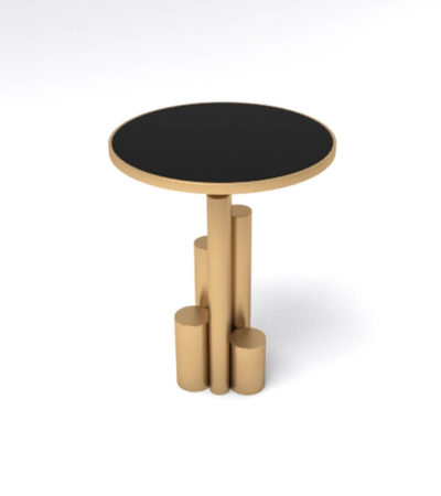 Olimpia Black and Gold Round Side Table