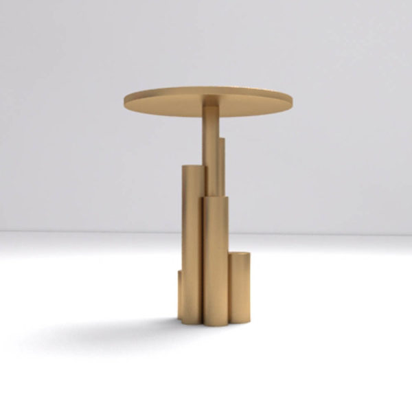Olimpia Black and Gold Round Side Table Down