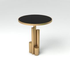 Olimpia Black and Gold Round Side Table Top