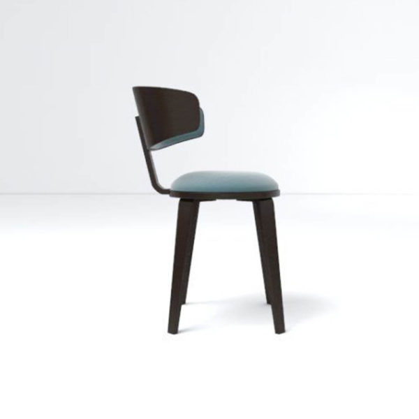 Oska Upholstered Winged Dining Chair Right Side View