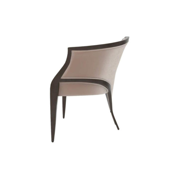 Oval Upholstered Wood Frame Armchair Left View
