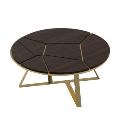 Puzzle Circular Coffee Table with Gold Leg