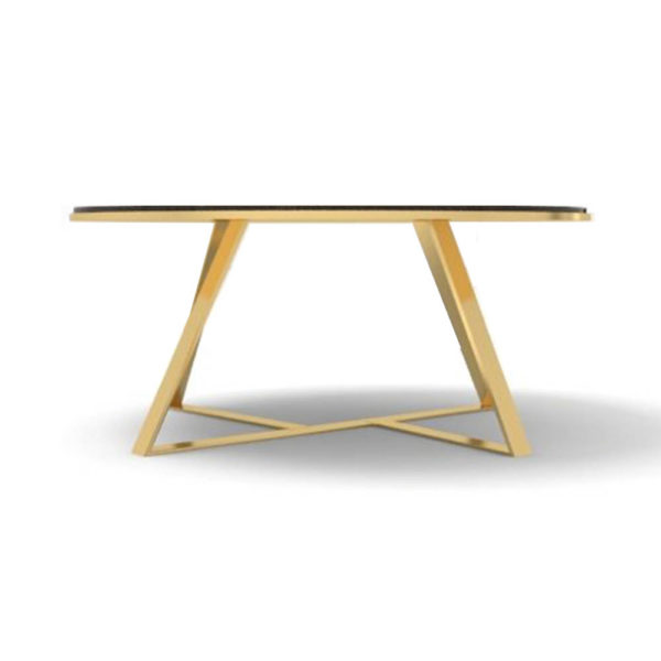 Puzzle Circular Coffee Table with Gold Leg Front