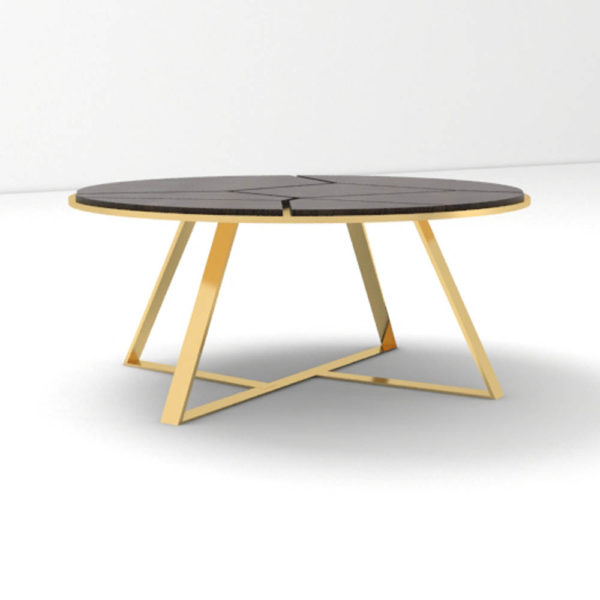Puzzle Circular Coffee Table with Gold Leg Front View