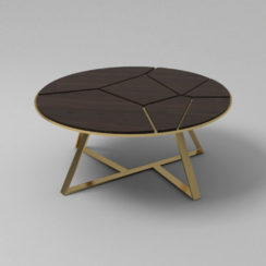 Puzzle Circular Coffee Table with Gold Leg Veneer Top