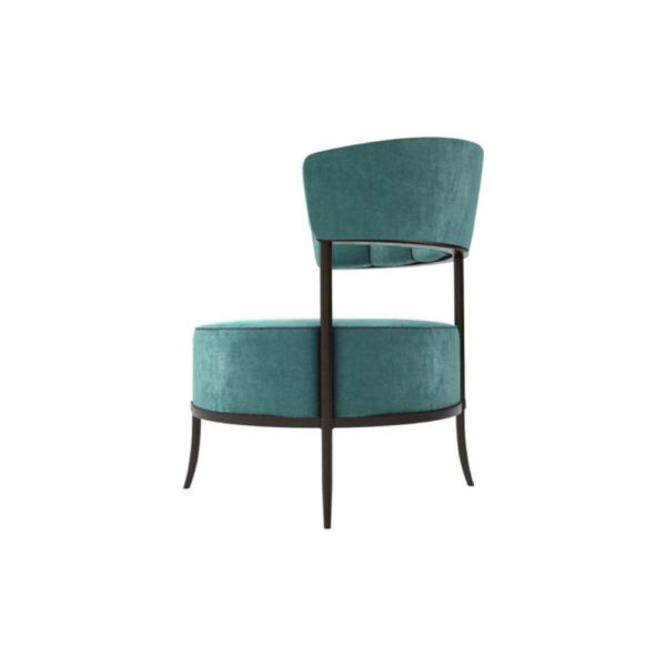 Renata Upholstered Round Back Accent Chair Left
