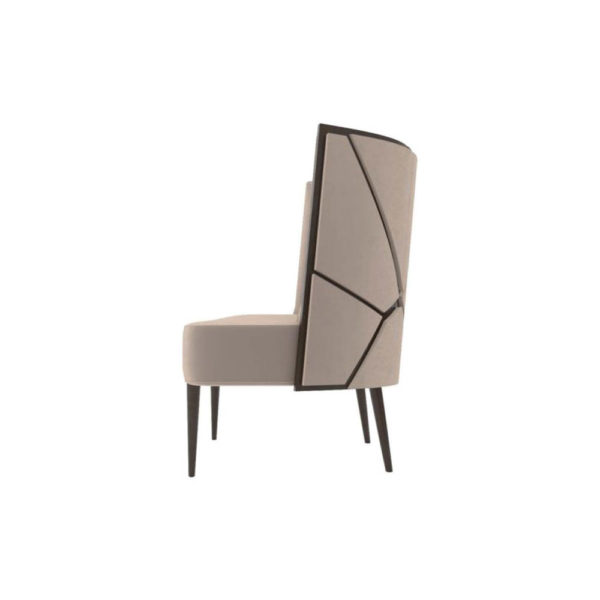 Roman Upholstered with Patterned High Back Accent Chair Left