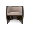 Ronald Upholstered Round Armchair with Wooden Frame 1