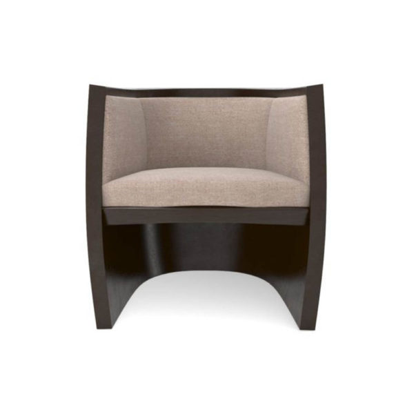 Ronald Upholstered Round Armchair with Wooden Frame