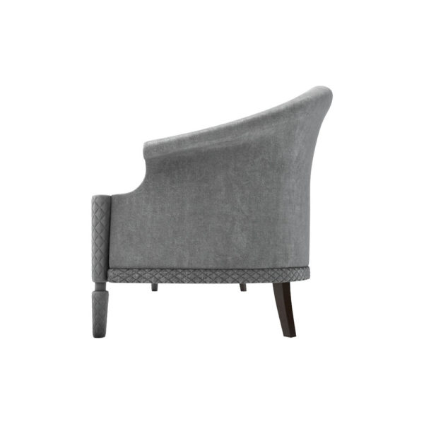 Santiago Upholstered 3 Seater Curved Sofa Left Side View