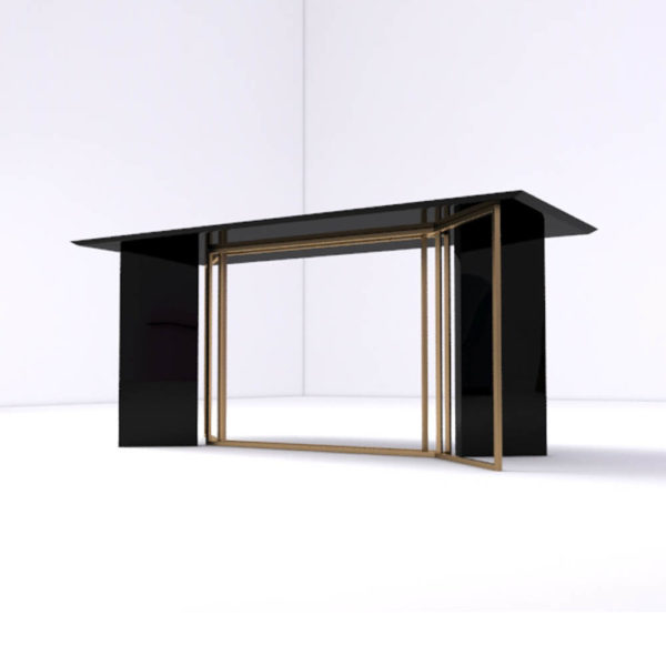 Santini Wooden with Stainless Steel Console Table Down