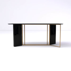 Santini Wooden with Stainless Steel Console Table Front View