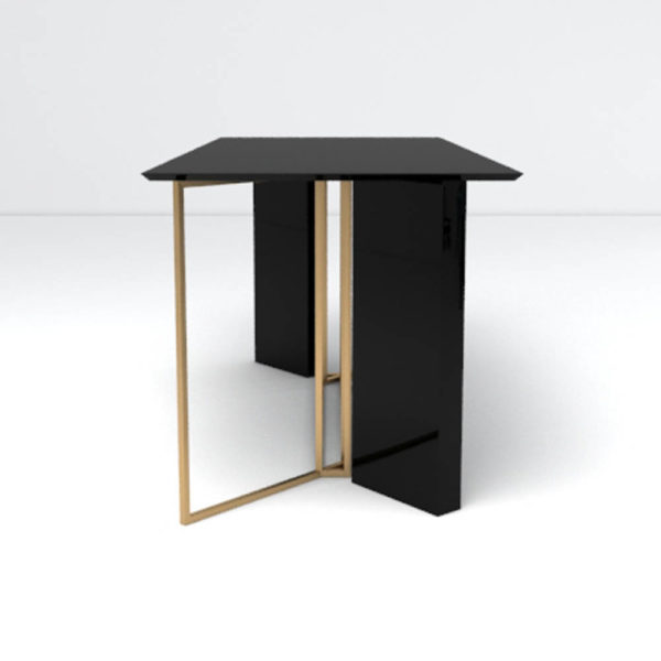 Santini Wooden with Stainless Steel Console Table Side View
