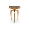 Sasha Wooden Gold with Glass Top Side Table 1