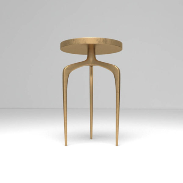 Sasha Wooden Gold with Glass Top Side Table Down