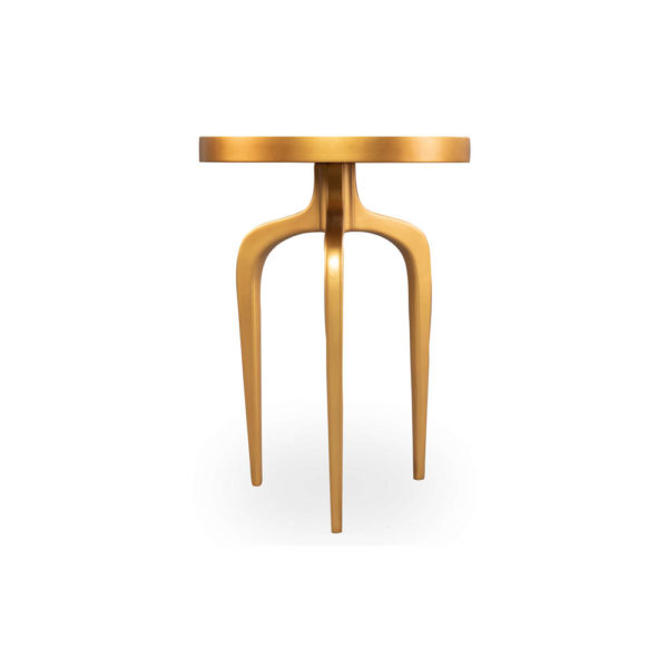 Sasha Wooden Gold with Glass Top Side Table Front