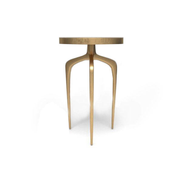 Sasha Wooden Gold with Glass Top Side Table Front Side View