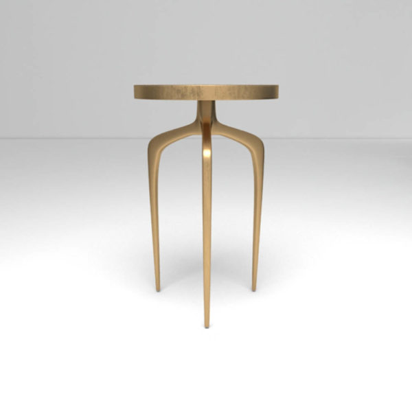 Sasha Wooden Gold with Glass Top Side Table Front View