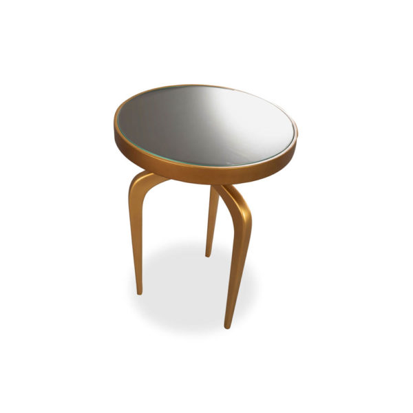 Sasha Wooden Gold with Glass Top Side Table Top View