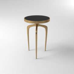 Sasha Wooden Gold with Glass Top Side Table View