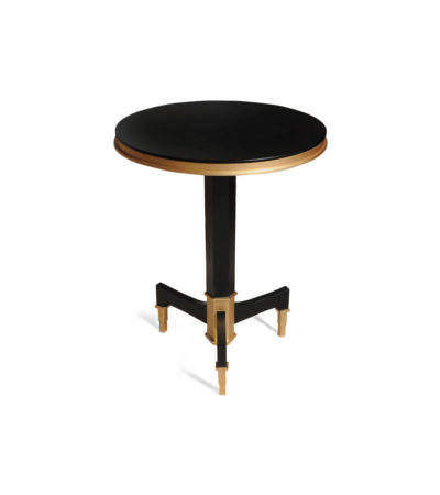 Scarlet Wood and Stainless Steel Side Table