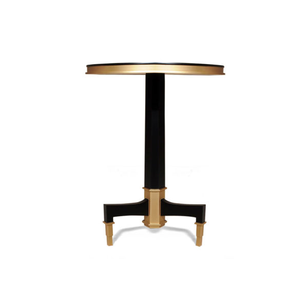 Scarlet Wood and Stainless Steel Side Table Front