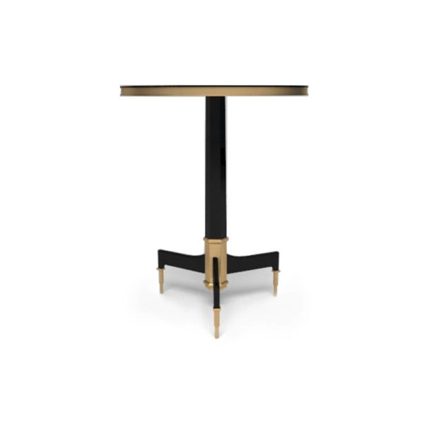 Scarlet Wood and Stainless Steel Side Table Front View