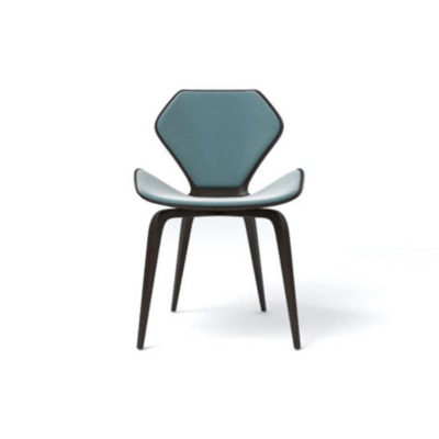 Scorpio Upholstered Winged with Wood Leg Dining Chair