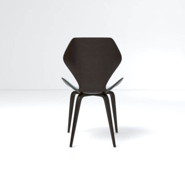 Scorpio Upholstered Winged with Wood Leg Dining Chair Back