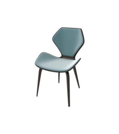 Scorpio Upholstered Winged with Wood Leg Dining Chair Left View