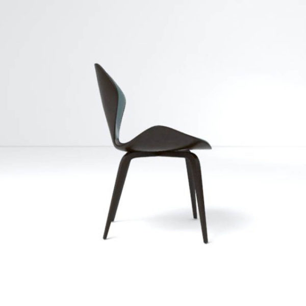 Scorpio Upholstered Winged with Wood Leg Dining Chair Right Side View