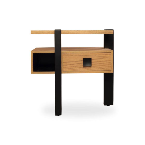 Slava Beige and Brown Wood Bedside Table